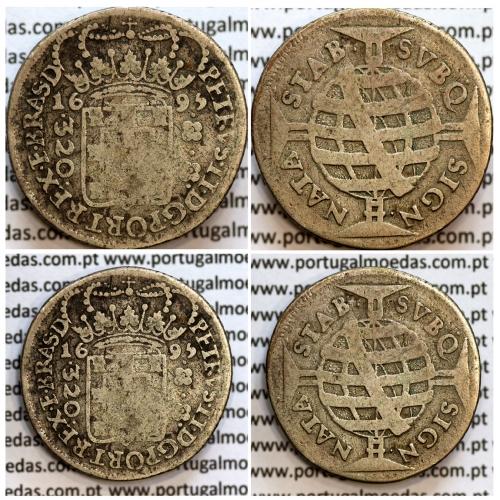 320 Réis 1695 prata de D. Pedro II, Brasil, Pataca prata 1695 Casa Moeda de Bahia, Brasil, World Coins Brasil KM 81.1