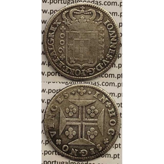 MOEDA DE 12 VINTÉNS (240 RÉIS) 1747 (MBC-) COROA COM ARCOS DUPLOS