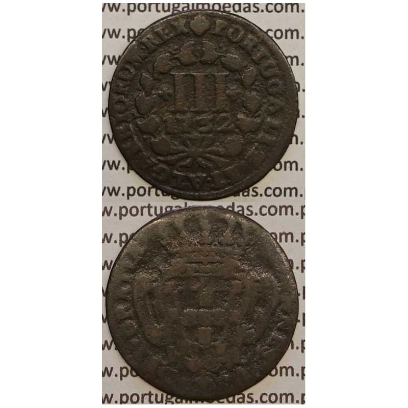 MOEDA III RÉIS COBRE 1732 (BC) - D.JOÃO V