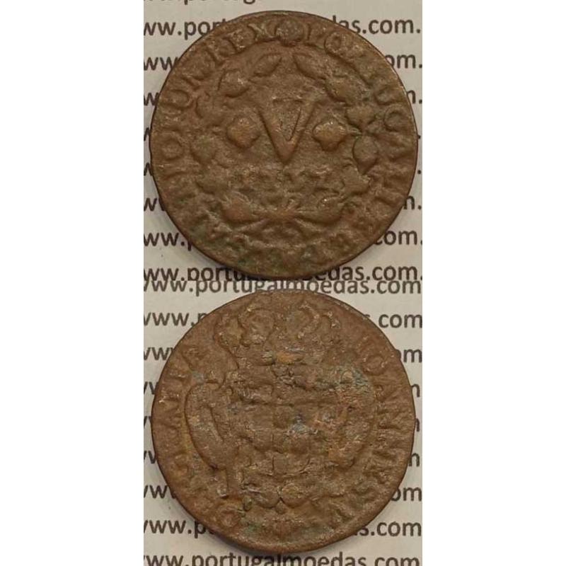 MOEDA V RÉIS COBRE 1737 (BC) - R/ COM ALGARISMOS PEQUENOS - D.JOÃO V