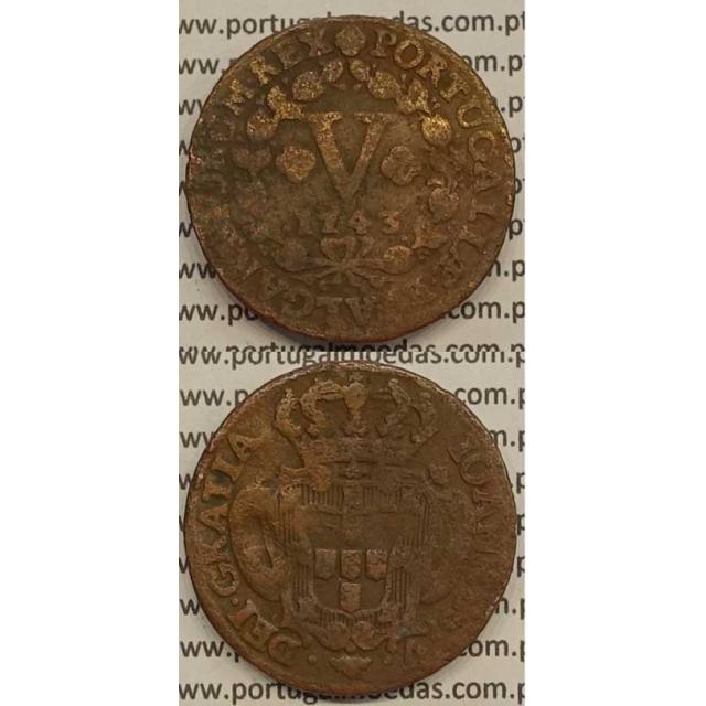 MOEDA V RÉIS COBRE 1743 (BC) - D.JOÃO V