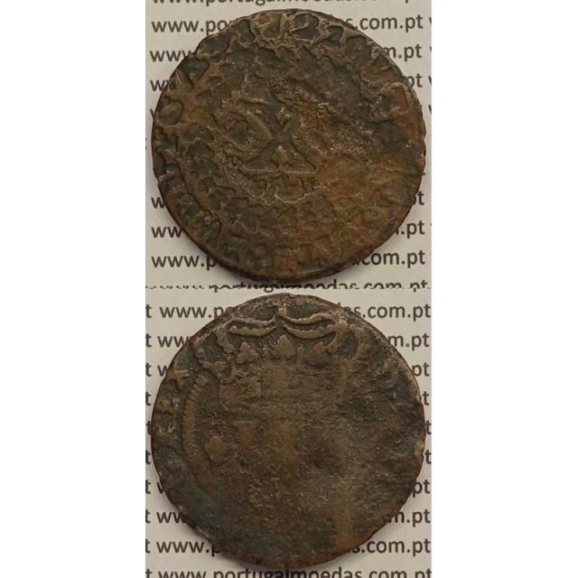 MOEDA X RÉIS COBRE 1721 (MC) - LEGENDA DO INVERSO INCUSA - D.JOÃO V