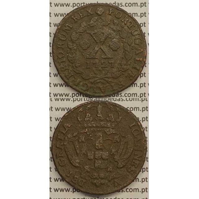 MOEDA X RÉIS COBRE 1727 (BC-) - D.JOÃO V