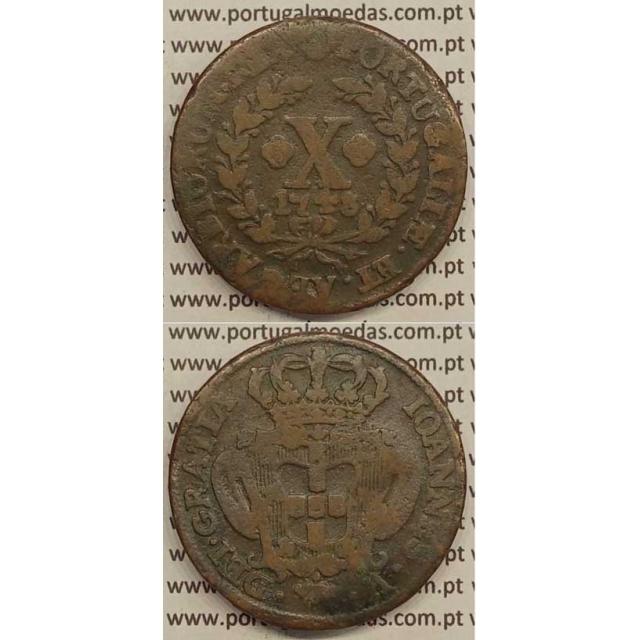 MOEDA X RÉIS COBRE 1748 (BC) - DATA MAIS PEQUENA - D.JOÃO V
