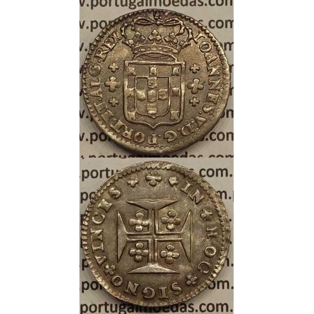 MOEDA 6 VINTÉNS PRATA 1706-1750 (MBC) - LEGENDA SOBRE A COROA / REVERSO CRUZ MENOR DE 12mm - D.JOÃO V