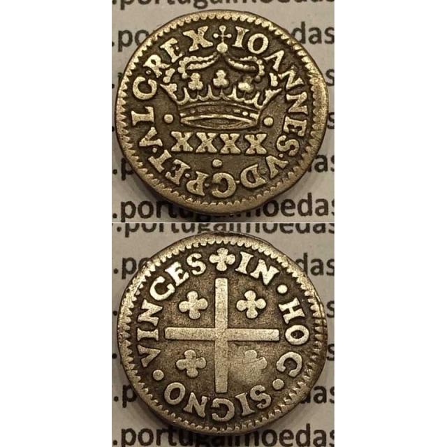 MOEDA MEIO TOSTÃO PRATA 1706-1750 (MBC) - REVERSO QUADRIFÓLIOS SEM ÂMAGO - D.JOÃO V