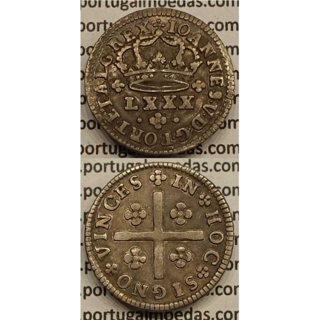 MOEDA TOSTÃO PRATA 1706-1750 (MBC) - REVERSO FLORÃO ISOLADO - D.JOÃO V