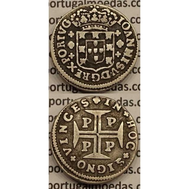 MOEDA 3 VINTÉNS PRATA 1706-1750 (MBC) - ANVERSO COROA 4 ARCOS (PORTO)- D.JOÃO V