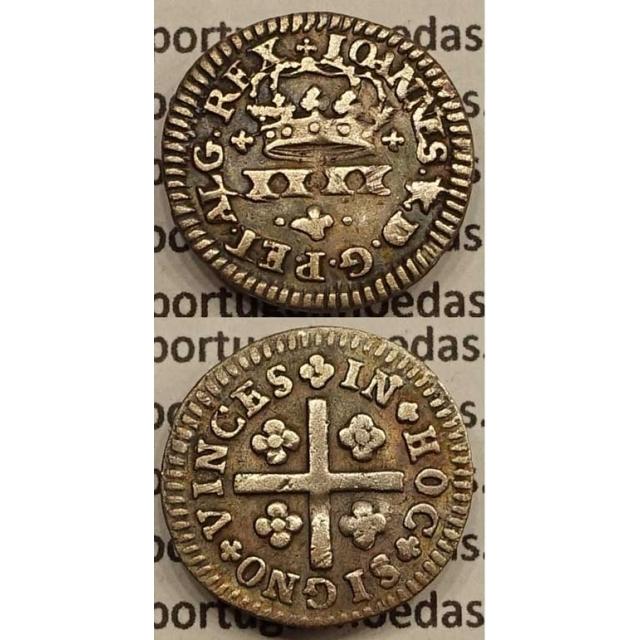 MOEDA MEIO TOSTÃO PRATA 1706-1750 (MBC-) - COROA IRREGULAR - D.JOÃO V