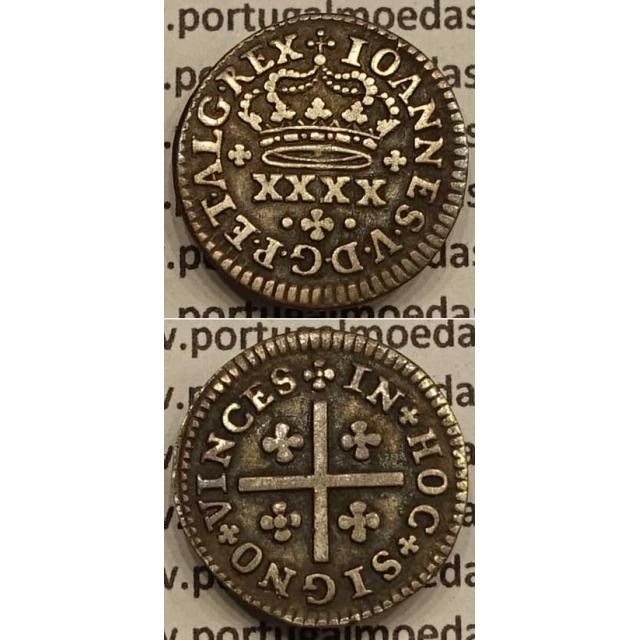 MOEDA MEIO TOSTÃO PRATA 1706-1750 (MBC+) - D.JOÃO V