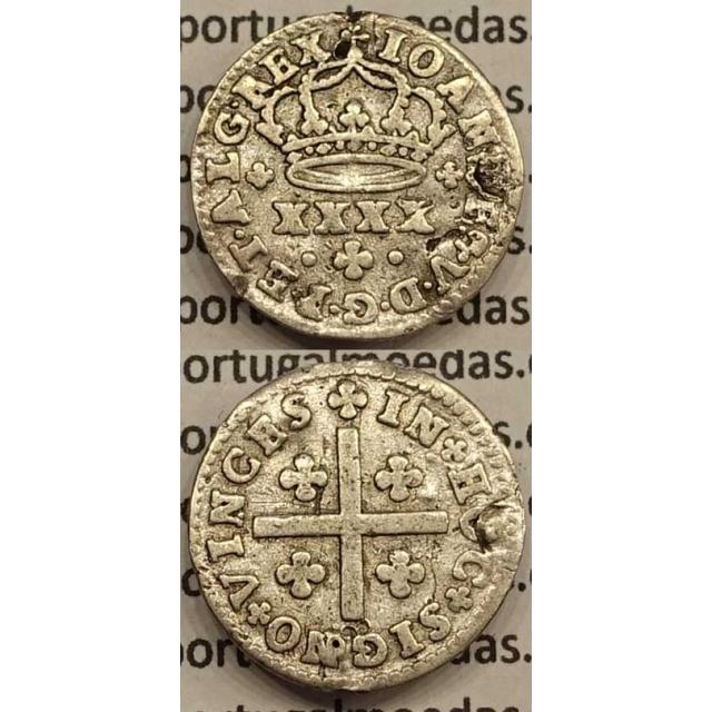 MOEDA MEIO TOSTÃO PRATA 1706-1750 (BC+) - MODULO 17 mm -D.JOÃO V