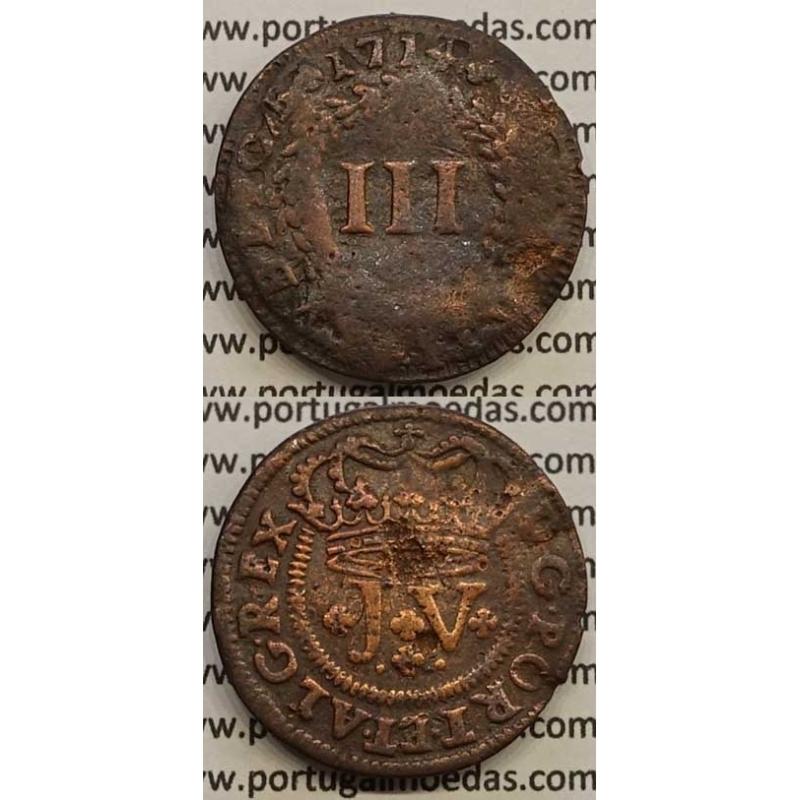 MOEDA III RÉIS COBRE 1714 (BC-) - D.JOÃO V