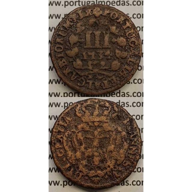 MOEDA III RÉIS COBRE 1734 (BC) - REVERSO C/ FLORÃO NO INICIO DA LEGENDA - D.JOÃO V