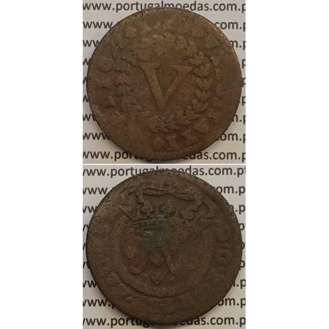 MOEDA V RÉIS COBRE 1714 (BC-/REG) - D.JOÃO V