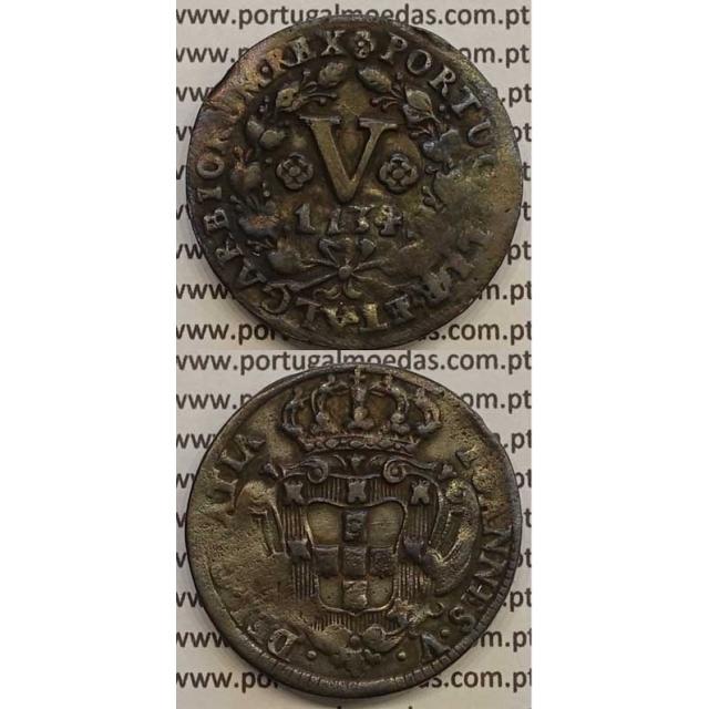 MOEDA V RÉIS COBRE 1734 (MBC) - R/ CAMPO C/ FRISOS NA VERTICAL - D.JOÃO V