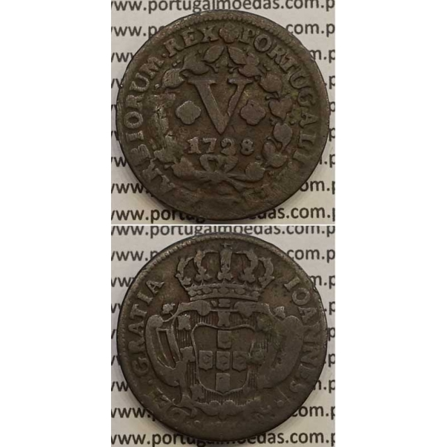 MOEDA V RÉIS COBRE 1728 (BC) - R/ COM ALGARISMOS PEQUENOS - D.JOÃO V