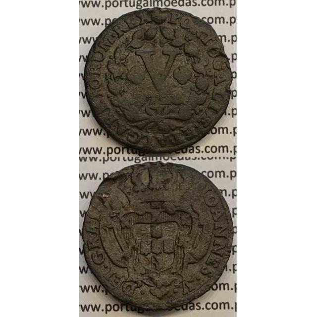 MOEDA V RÉIS COBRE 1728 (BC) - D.JOÃO V