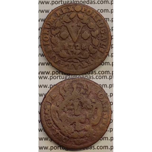 MOEDA V RÉIS COBRE 1728 (BC) - MODULO MAIOR (30 mm) - D.JOÃO V
