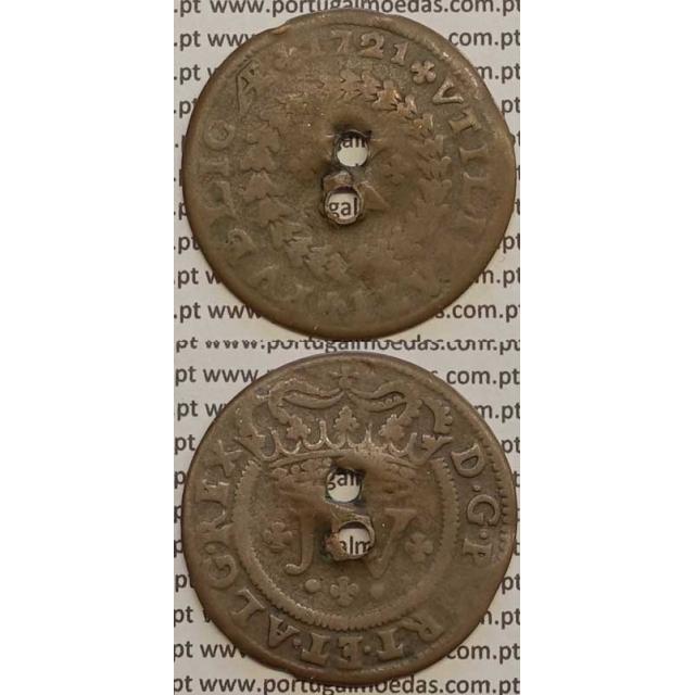 """MOEDA X RÉIS COBRE 1721 (BC- / REG) - LEGENDA C/ """"L"""" LONGO D.JOÃO V"""