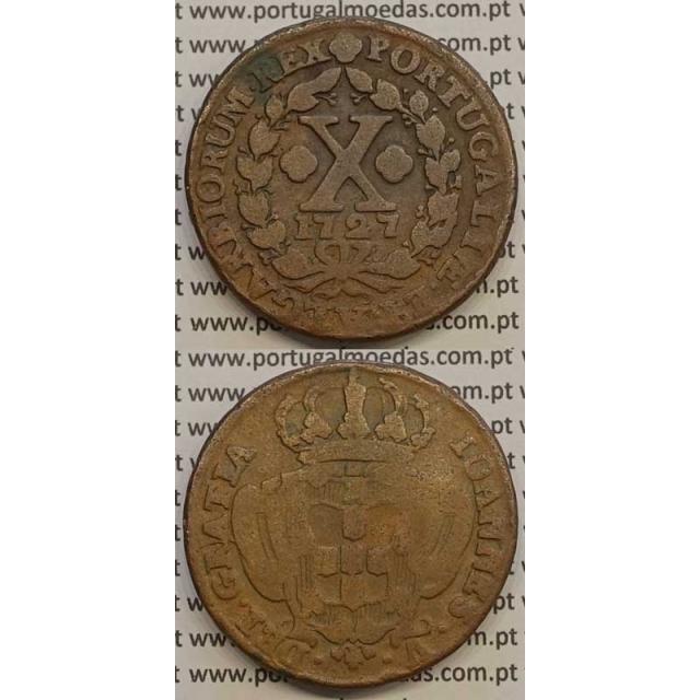 MOEDA X RÉIS COBRE 1727 (BC) - D.JOÃO V