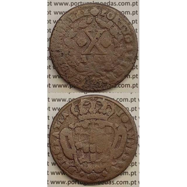 MOEDA X RÉIS COBRE 1732 (BC-) - A/ LEG. SEPARADA POR QUADRÓFILOS - D.JOÃO V