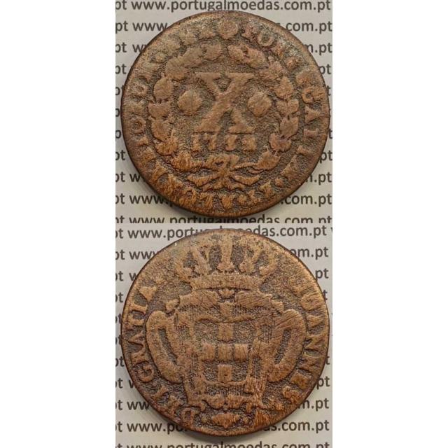 MOEDA X RÉIS COBRE 1732 (BC-) - R/ LEG. SEP. POR QUADRÓFILOS - D.JOÃO V