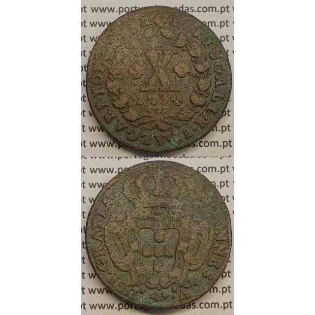 MOEDA X RÉIS COBRE 1734 (BC-) - D.JOÃO V