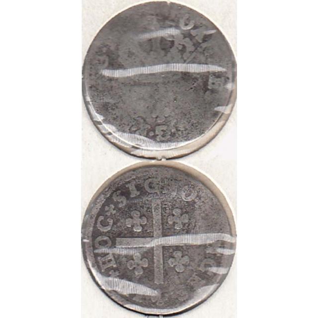 MEIO TOSTÃO PRATA 1706-1750 (REG) DIÂMETRO 17 mm