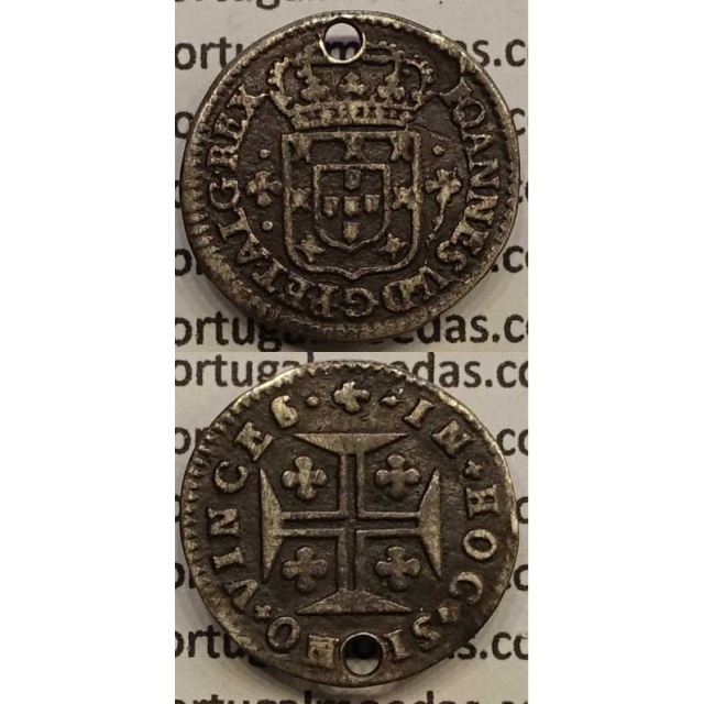 MOEDA 3 VINTÉNS PRATA 1706-1750 (BC) - COROA 4 ARCOS / DIADEMA 6 mm- D.JOÃO V