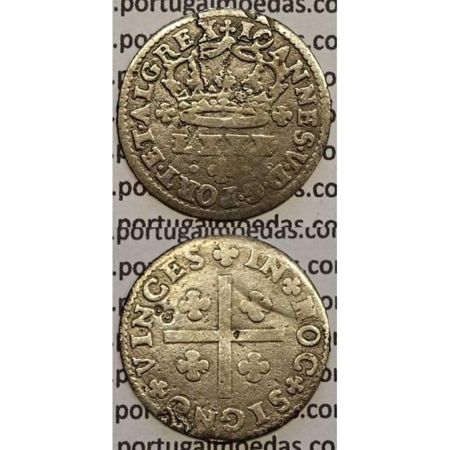 MOEDA TOSTÃO PRATA 1706-1750 (BC) - REVERSO FLORÃO ISOLADO - D.JOÃO V