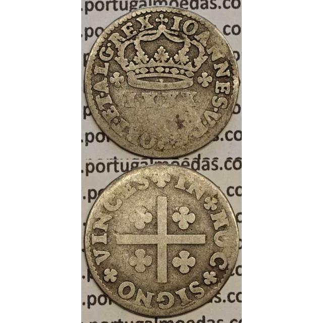 MOEDA TOSTÃO PRATA 1706-1750 (BC-) - REVERSO FLORÃO ISOLADO - D.JOÃO V