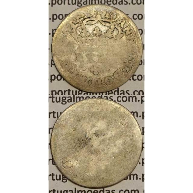 MOEDA TOSTÃO PRATA 1706-1750 (MC) - REVERSO FLORÃO ISOLADO - D.JOÃO V