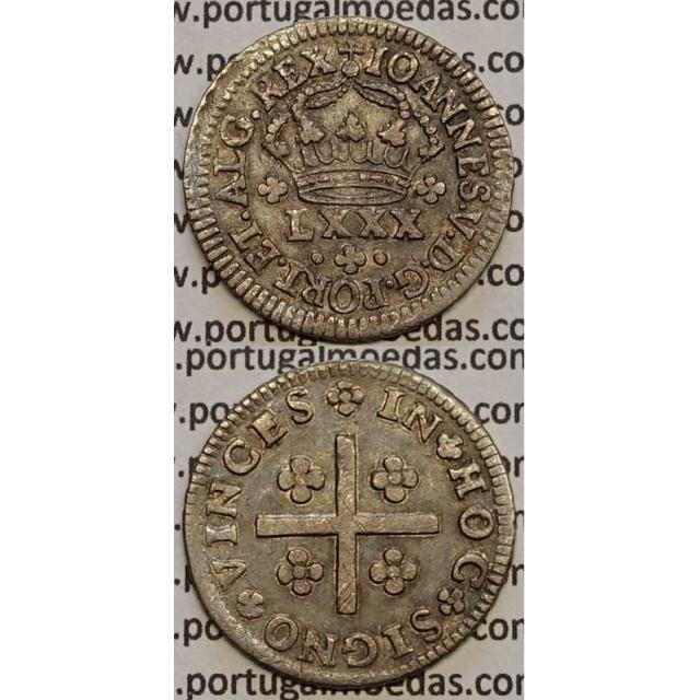 MOEDA TOSTÃO PRATA 1706-1750 (MBC+/BELA) - COROA C/PEDÚNCULOS - REVERSO FLORÃO ISOLADO - D.JOÃO V