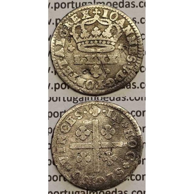 MOEDA TOSTÃO PRATA 1706-1750 (BC) - REVERSO FLORÃO LADEADO POR PONTOS - D.JOÃO V