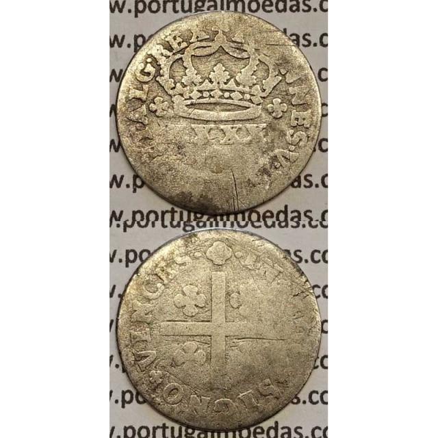 MOEDA TOSTÃO PRATA 1706-1750 (REG) - REVERSO FLORÃO LADEADO POR PONTOS - D.JOÃO V