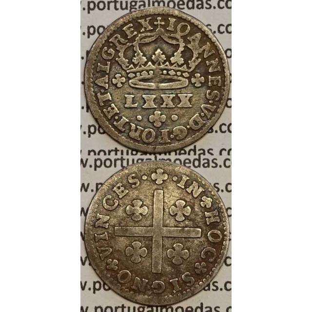 MOEDA TOSTÃO PRATA 1706-1750 (MBC) - REVERSO FLORÃO LADEADO POR PONTOS - D.JOÃO V