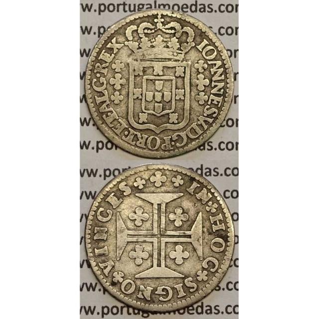 MOEDA 6 VINTÉNS PRATA 1706-1750 (MBC-) - ESCUDO COM 10 mm - D.JOÃO V
