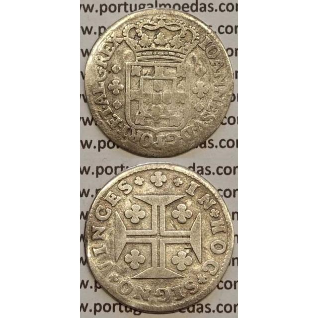 MOEDA 6 VINTÉNS PRATA 1706-1750 (BC) - ESCUDO COM 10 mm - D.JOÃO V