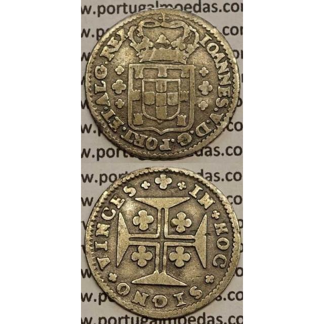 MOEDA 6 VINTÉNS PRATA 1706-1750 (MBC) - LEGENDA SOBRE A COROA - D.JOÃO V