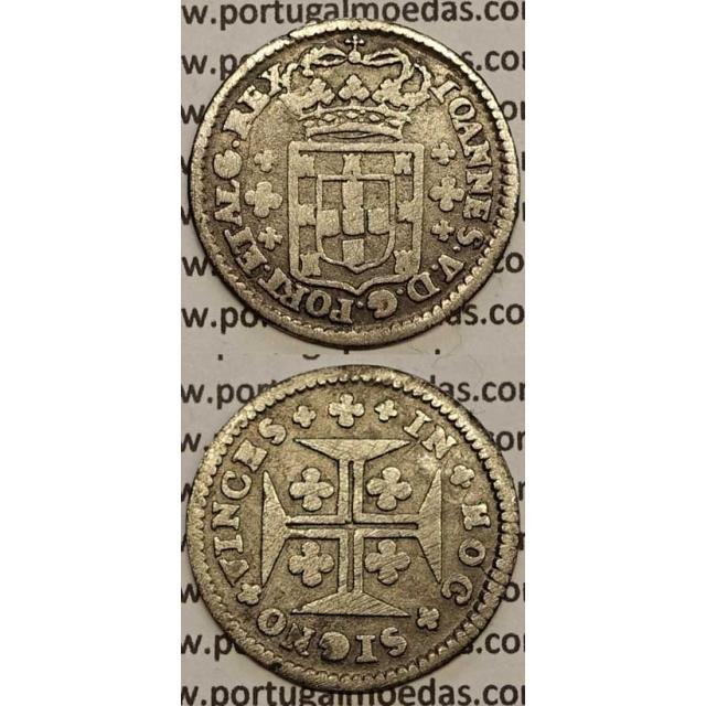 MOEDA 6 VINTÉNS PRATA 1706-1750 (BC) - LEGENDA SOBRE A COROA - D.JOÃO V