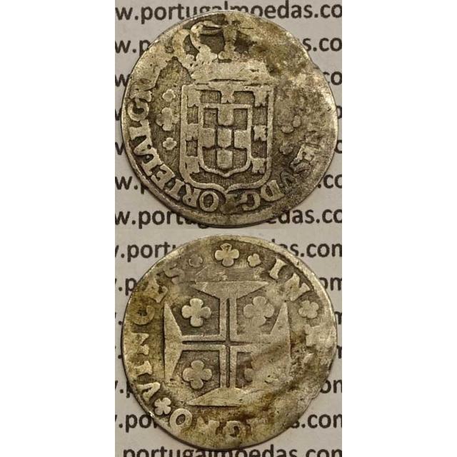 MOEDA 6 VINTÉNS 1706-1750 (REG) COROA DE 5 ARCOS / CRUZ PEROLADA - D.JOÃO V