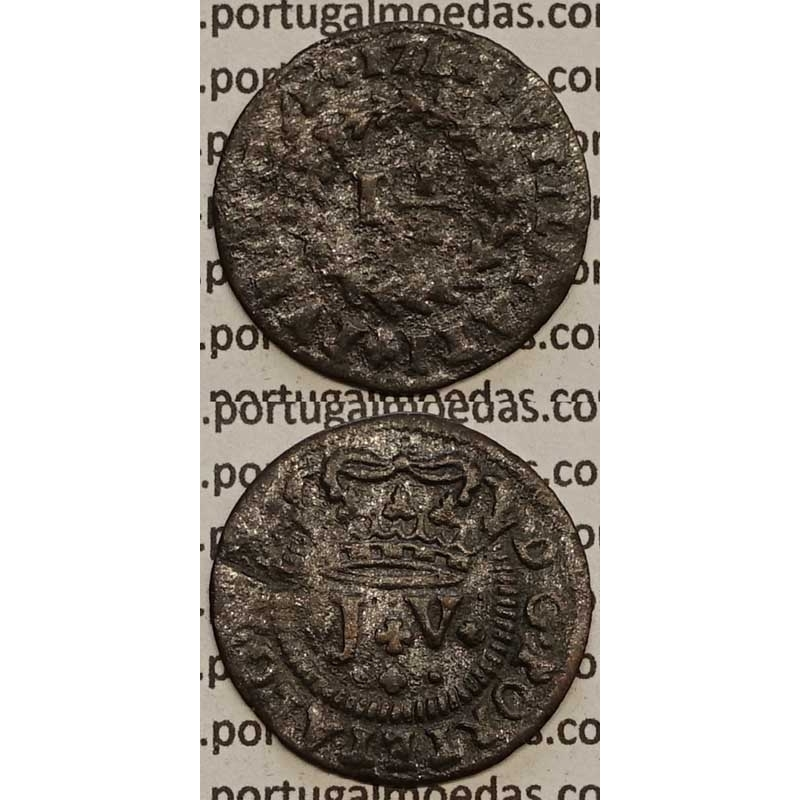 MOEDA DE REAL E MEIO COBRE 1714 (BC) - D. JOÃO V