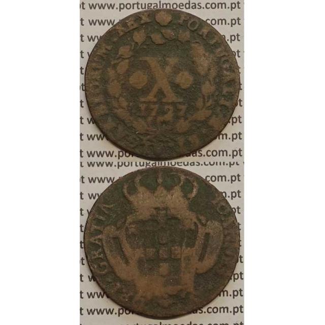 MOEDA X RÉIS COBRE 1727 (BC-) - MARQUILHA INVERTIDA - D.JOÃO V