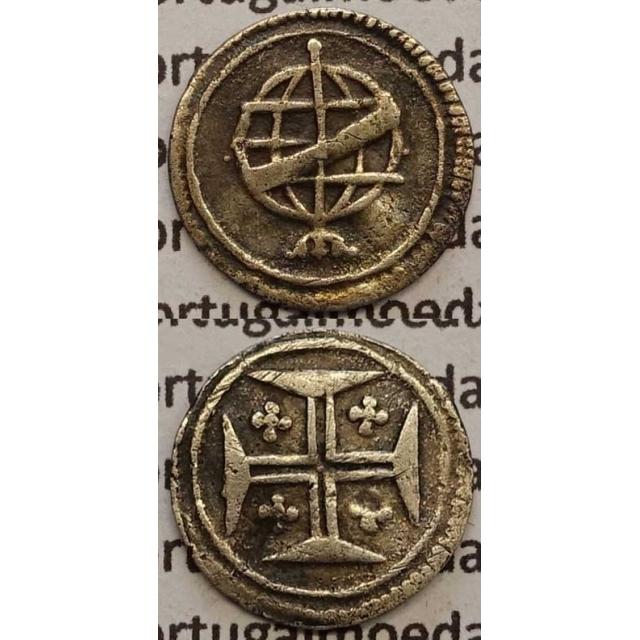 MOEDA VINTÉM PRATA 1706-1750 (BC+) COM PONTO LADO ESQUERDO - D.JOÃO V