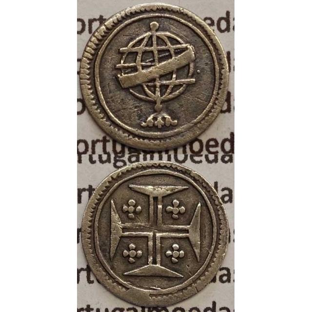 MOEDA VINTÉM PRATA 1706-1750 (MBC) COM PONTO LADO DIREITO - D.JOÃO V