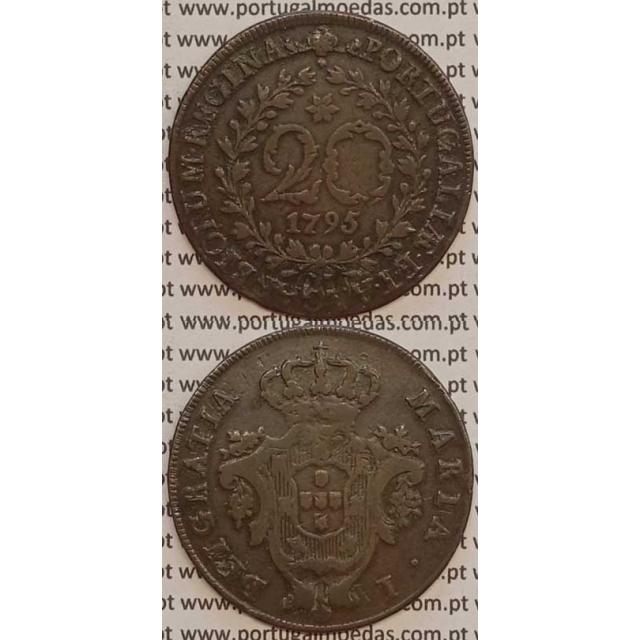 MOEDA 20 RÉIS COBRE 1795 (MBC) AÇORES - D.MARIA I