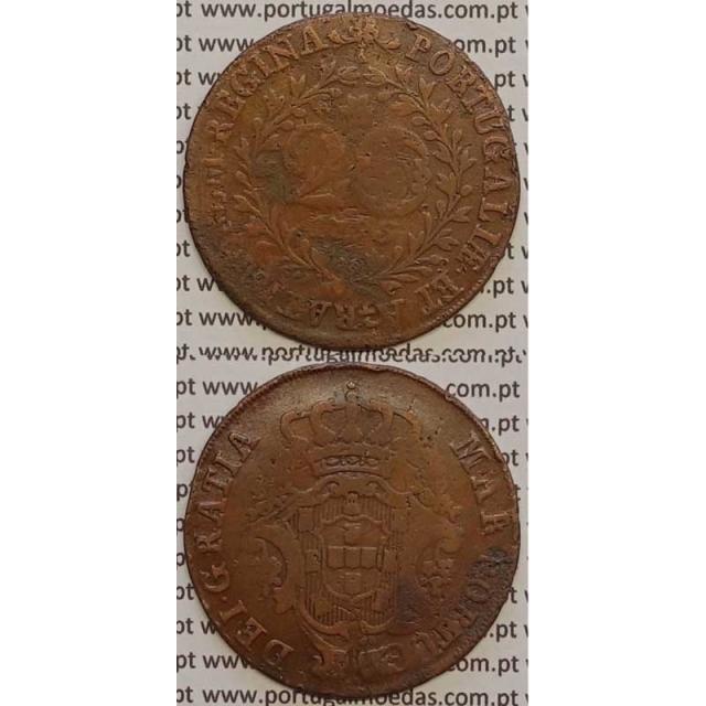 MOEDA 20 RÉIS COBRE 1795 (BC) AÇORES / CUNHADA SOBRE DISCO DE OUTRA MOEDA (X REIS)