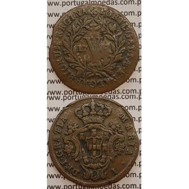 MOEDA V REIS COBRE 1797 (BC-) ANVERSO COM LETRAS MENORES - D. MARIA I