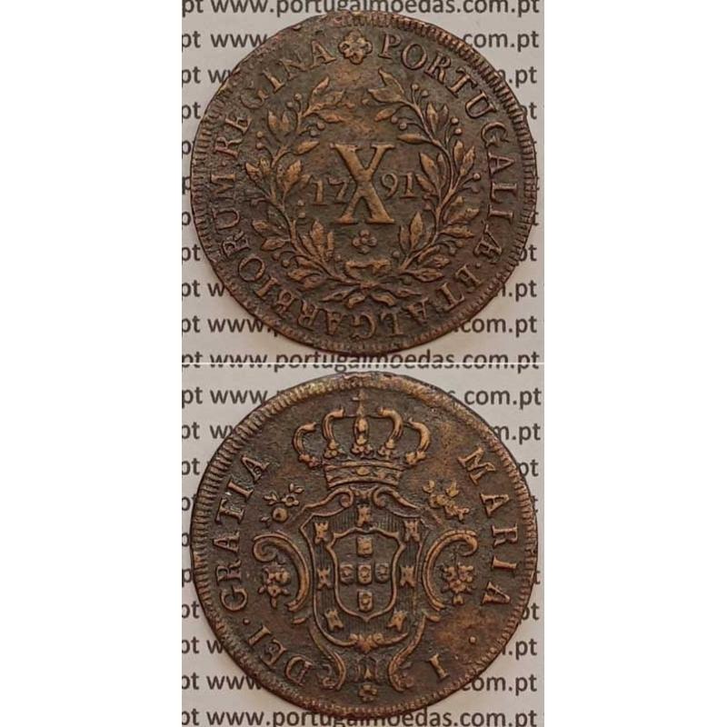 MOEDA X REIS COBRE 1791 (MBC+/BELA) COROA BAIXA - D. MARIA I