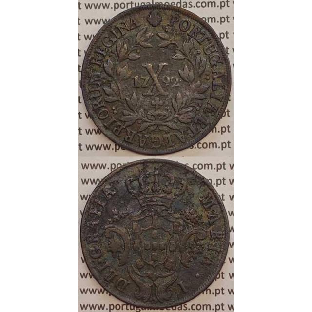MOEDA X REIS COBRE 1792 (MBC) COROA ALTA - D. MARIA I